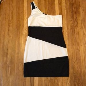 One shouldered black and white dress